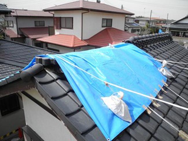16屋根にブルーシート被せ