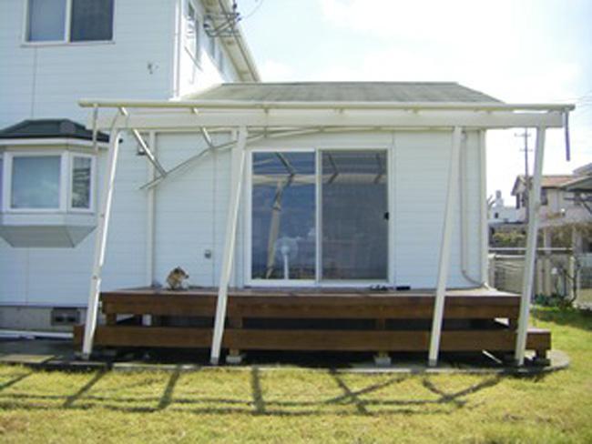 ウッドデッキ屋根:台風被害